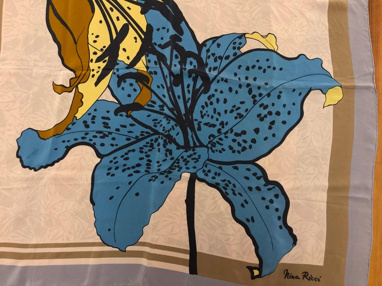 1980s Nina Ricci Asiatic Lily Pattern Silk Scarf 34x34 In Good Condition For Sale In Port Hope, ON