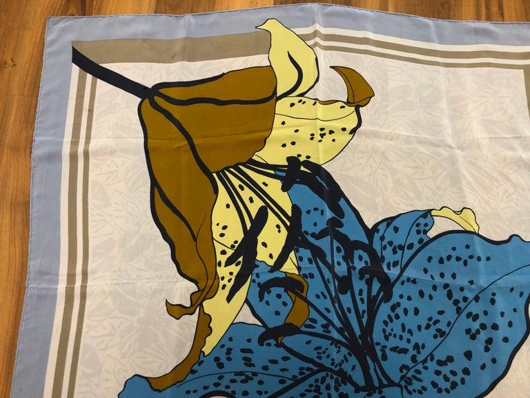 Women's 1980s Nina Ricci Asiatic Lily Pattern Silk Scarf 34x34 For Sale