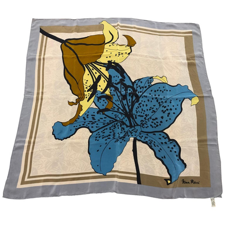 1980s Nina Ricci Asiatic Lily Pattern Silk Scarf 34x34 For Sale