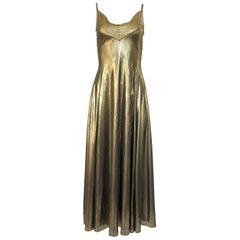 1980s Nina Ricci Liquid Gold Stretch Lame Jersey Dance Dress