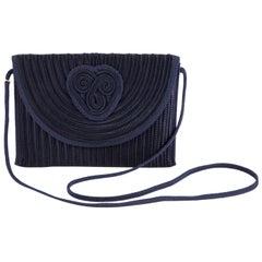 1980s Nina Ricci Navy Silk Braided Bag
