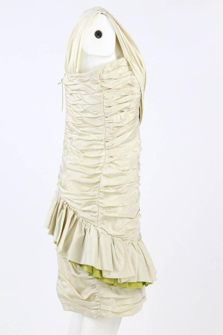 Beige 1980s Nina Ricci Off-White Silk Dress For Sale