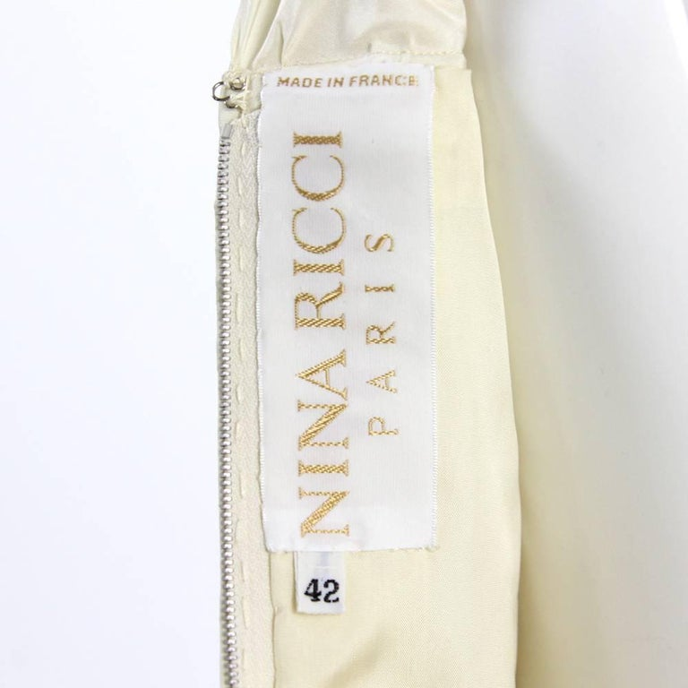 Women's 1980s Nina Ricci Off-White Silk Dress For Sale