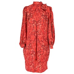 1980s Nina Ricci Red Silk Vintage Dress