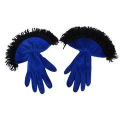 1980er Jahre, Nina Ricci, Royal blaues Wildleder, Stulpenhandschuhe