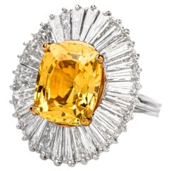1980s No Natural No Heat 12.31 Carat Yellow Sapphire and Diamond Ballerina Ring