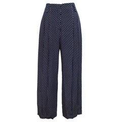 1980s Norma Kamali Navy Blue Polka Dot Silk Trousers