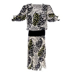 1980s Norma Walters Black & White Abstract Bold Print Silk Dress W/ Yellow Dots