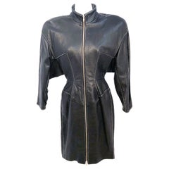 1980s North Beach Black Embossed Lamb Leather Dress