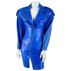 1980s North Beach Leather Blue Coat Dress