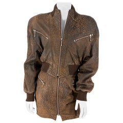 1980s North Beach Leather Brown Bomber Jacket and Mini Skirt