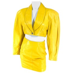1980s North Beach Leather Mustard Yellow/Gold Jacket and Mini-Skirt Set