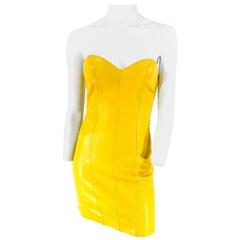 1980s North Beach Leather Mustard Yellow Mini-dress