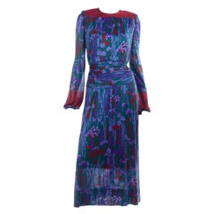1980's Numbered Lanvin Paris Vintage Green Purple & Red Floral Ruched Day Dress
