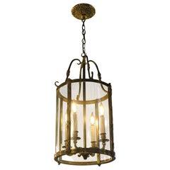 1980s NYC Waldorf Astoria Hotel Bronze Glass Cylinder Vestibule Lantern Pendant