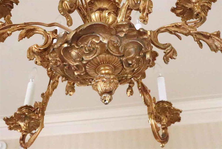 Late 20th Century 1980s NYC Waldorf Astoria Hotel Organic Bronze Gold Gilt Filigree Chandelier For Sale