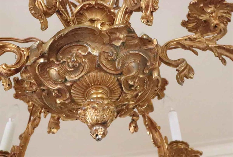 1980s NYC Waldorf Astoria Hotel Organic Bronze Gold Gilt Filigree Chandelier For Sale 1