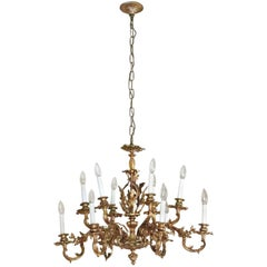 1980s NYC Waldorf Astoria Hotel Organic Bronze Gold Gilt Filigree Chandelier