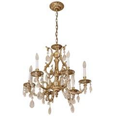 1980s NYC Waldorf Astoria Hotel Ornate Gilded Brass & Crystal Six-Arm Chandelier
