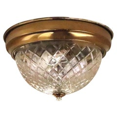 1980s NYC Waldorf Astoria Hotel Towers Cut Crystal Flush Mount Light