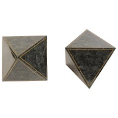 1980s Octahedron Tessellated Marble Side Tables