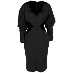 1980s Odicini Couture black wool and velvet Dress