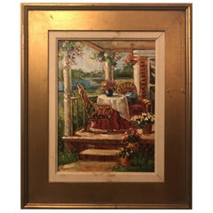 1980s Oil on Canvas Painting of a Home Porch Signed by Artist in Gilt Frame