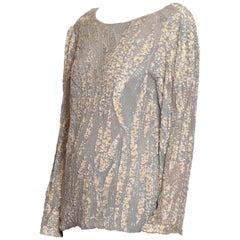 1980S OLEG CASSINI Grey Beaded Silk Chiffon Oversized Long Sleeve Blouse