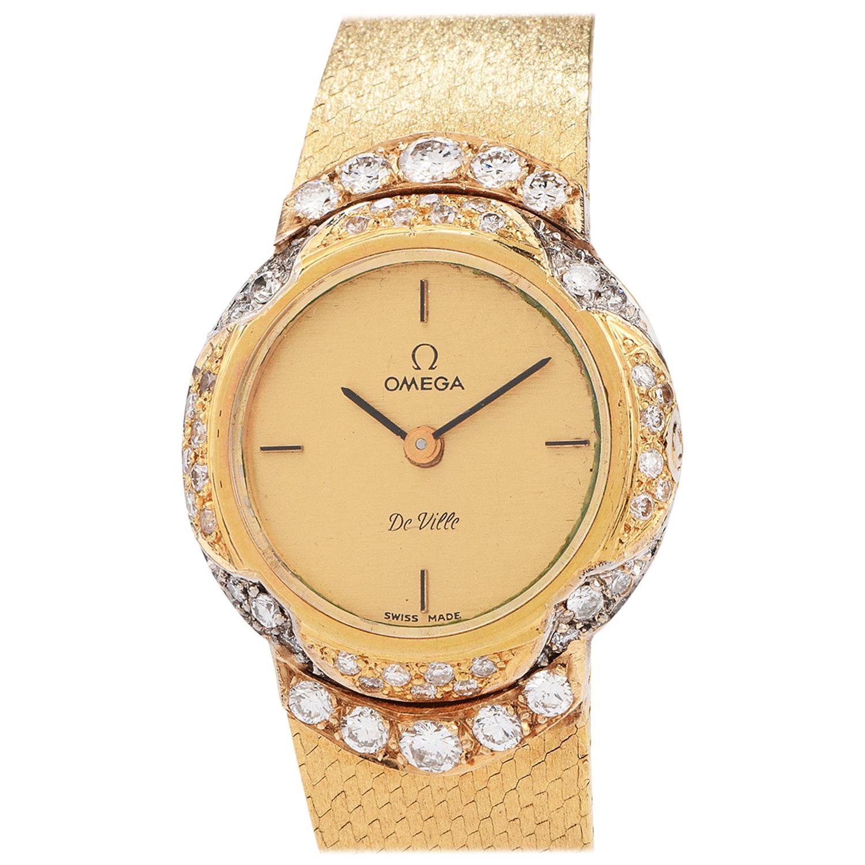 1980s Omega De Ville Diamond Ladies 18 Karat Yellow Gold Watch