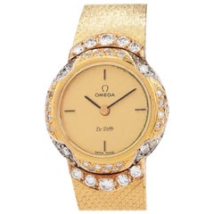 1980s Omega De Ville Diamond Ladies 18 Karat Yellow Gold Watch