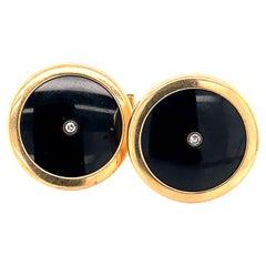 1980s Onyx and Diamond Cufflinks in Platinum and 14 Karat Gold