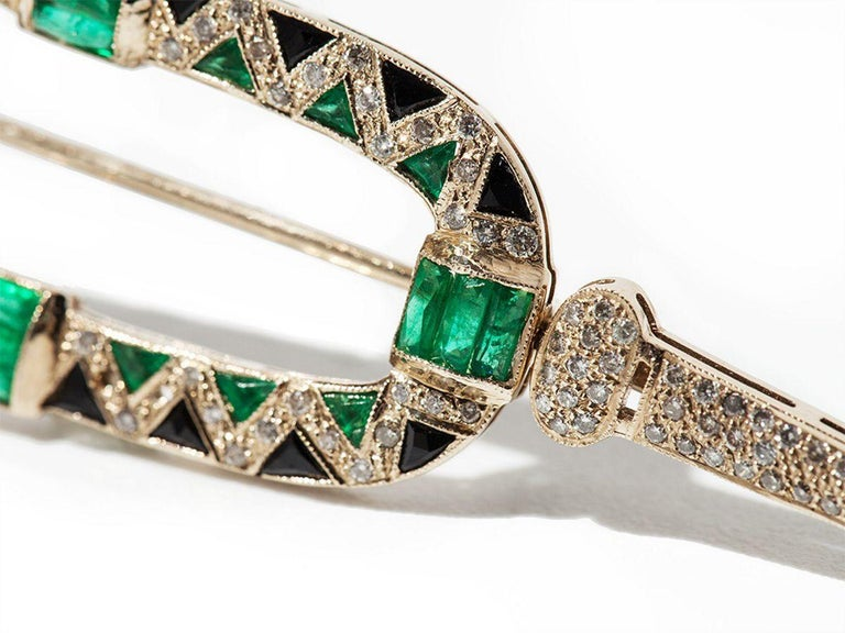 Women's or Men's 1980s Onyx Emerald Diamond Gold Brooch For Sale