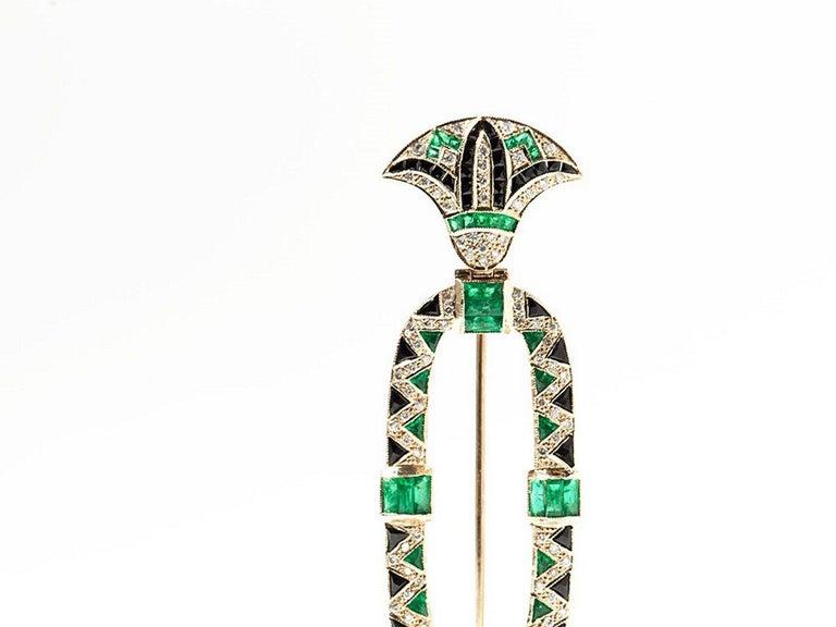 Brilliant Cut 1980s Onyx Emerald Diamond Gold Brooch For Sale
