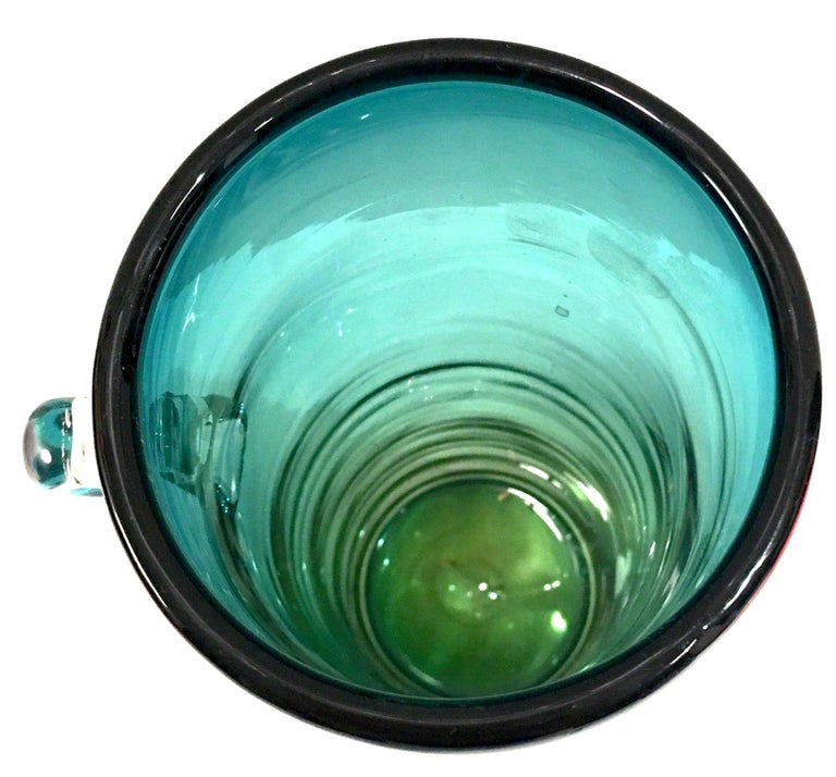 1980s Organic Modern Blown Glass Blue and Green Clear Handle Vase by, Blenko For Sale 5