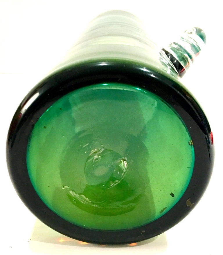 1980s Organic Modern Blown Glass Blue and Green Clear Handle Vase by, Blenko For Sale 6