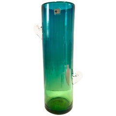 1980s Organic Modern Blown Glass Blue and Green Clear Handle Vase by, Blenko