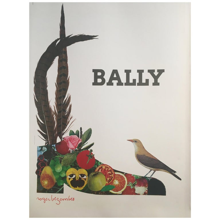 1980s Original Vintage French Fashion Shoe Poster, 'Bally Fruit Bezombes' For Sale