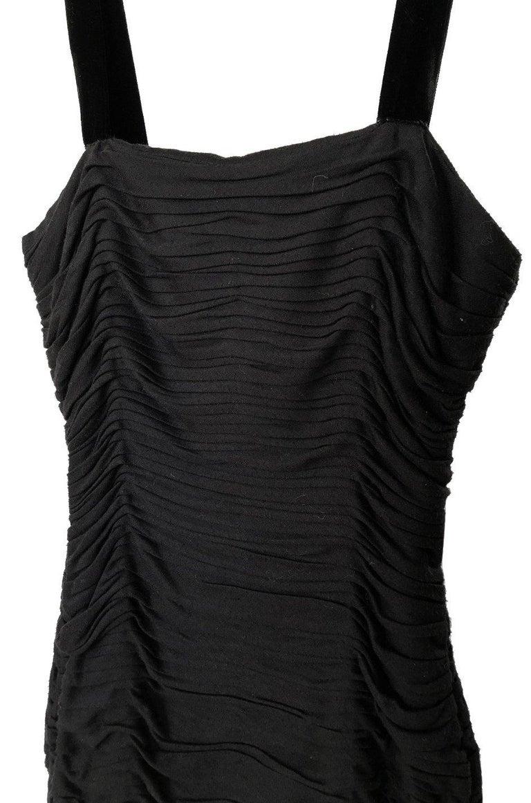 Women's 1980s Oscar de la Renta Black Gathered Back Crystal Button Dress For Sale