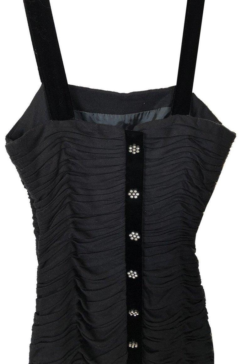 1980s Oscar de la Renta Black Gathered Back Crystal Button Dress For Sale 1