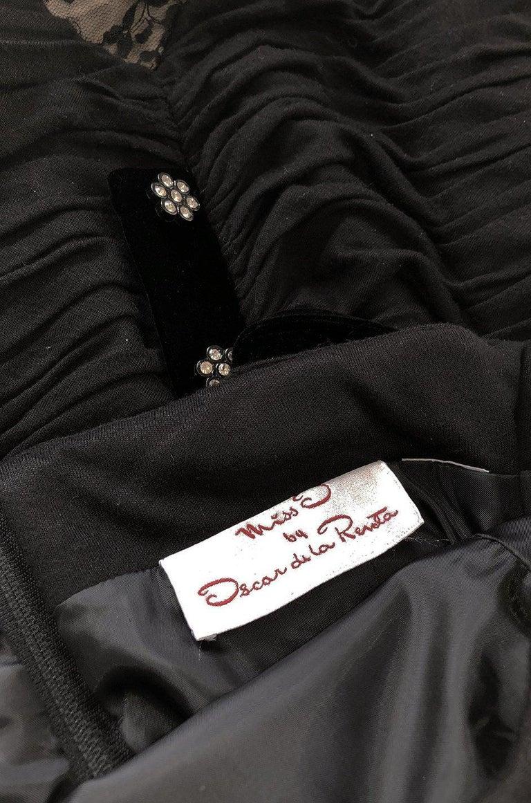 1980s Oscar de la Renta Black Gathered Back Crystal Button Dress For Sale 3