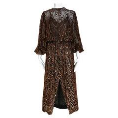 1980s Oscar De La Renta Brown Silk Velvet Long Sleeve Dress