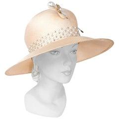 1980's Oscar De La Renta Decorated Wide-Brim Day Hat