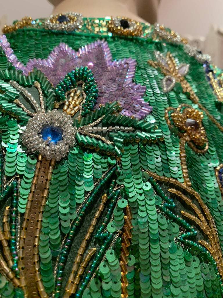 1980s Oscar de la Renta Evening Bolero Jacket Encrusted W/ Bead Thistle Patterns For Sale 8