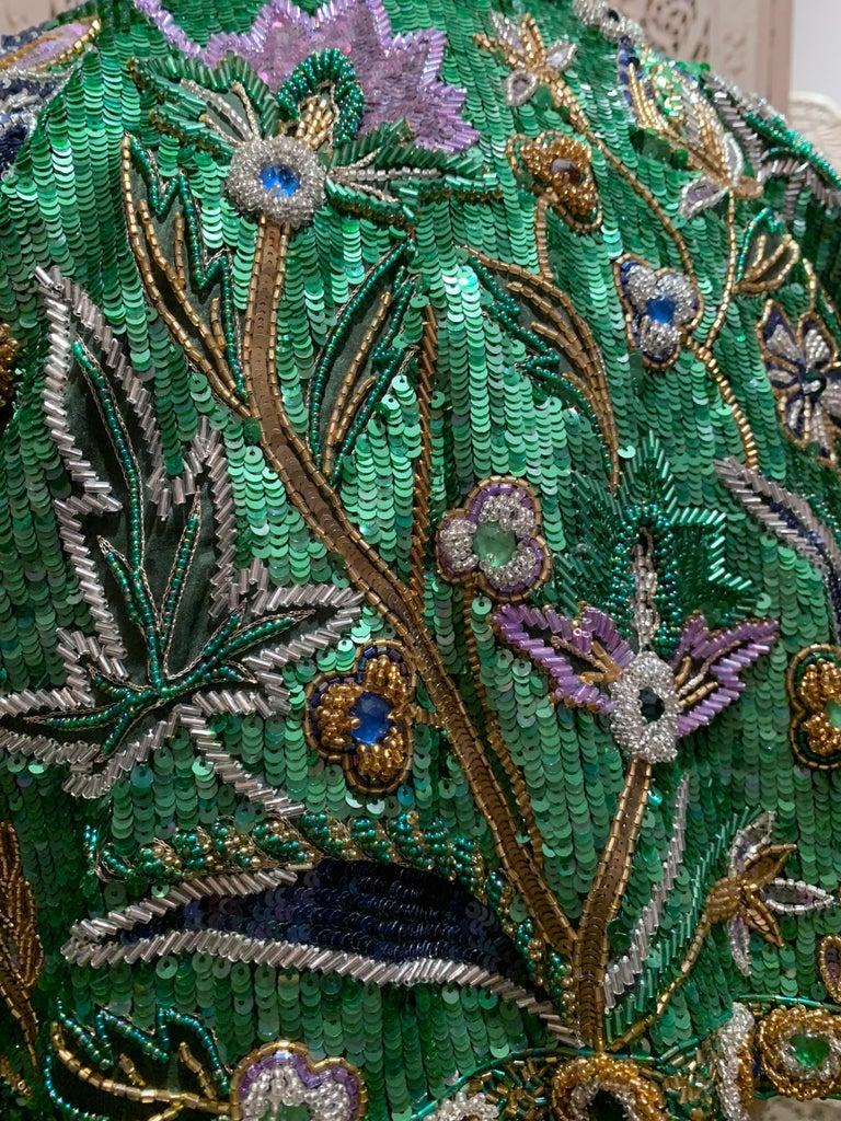 1980s Oscar de la Renta Evening Bolero Jacket Encrusted W/ Bead Thistle Patterns For Sale 9