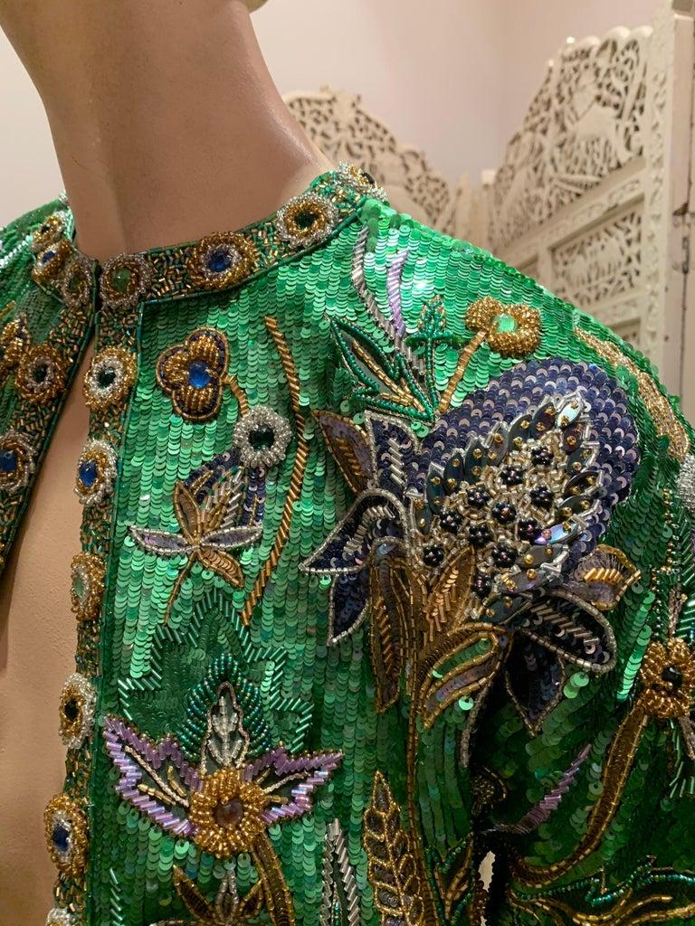 Black 1980s Oscar de la Renta Evening Bolero Jacket Encrusted W/ Bead Thistle Patterns For Sale