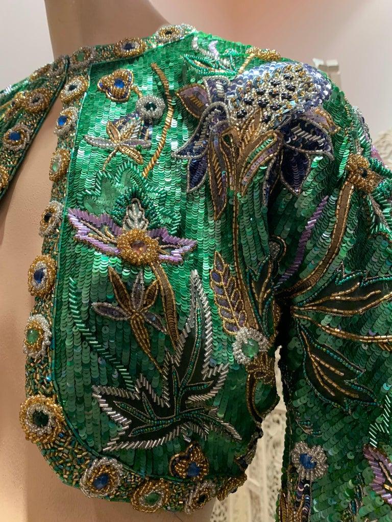 1980s Oscar de la Renta Evening Bolero Jacket Encrusted W/ Bead Thistle Patterns For Sale 1