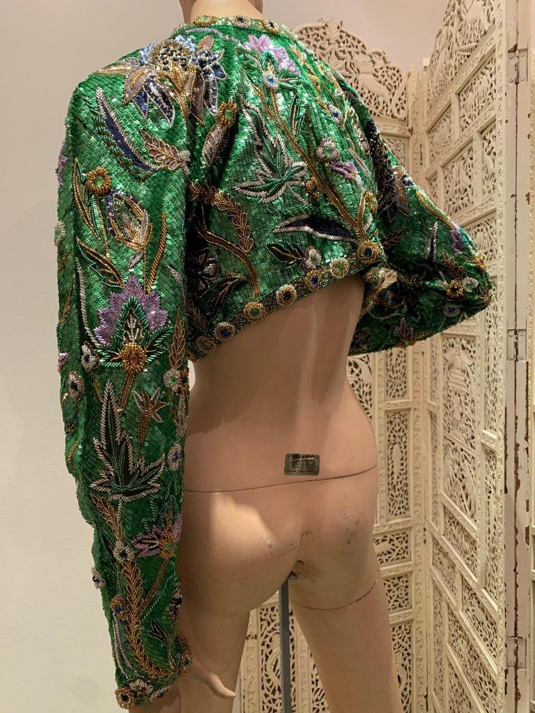 1980s Oscar de la Renta Evening Bolero Jacket Encrusted W/ Bead Thistle Patterns For Sale 2