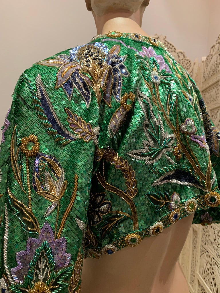 1980s Oscar de la Renta Evening Bolero Jacket Encrusted W/ Bead Thistle Patterns For Sale 3