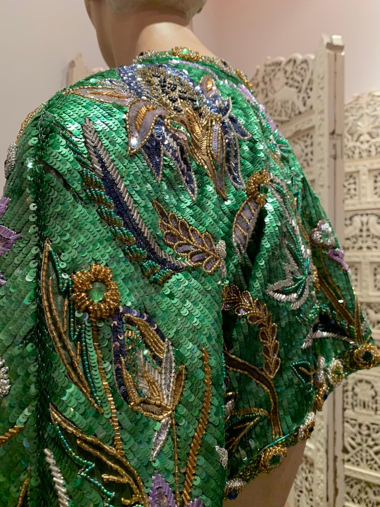 1980s Oscar de la Renta Evening Bolero Jacket Encrusted W/ Bead Thistle Patterns For Sale 4