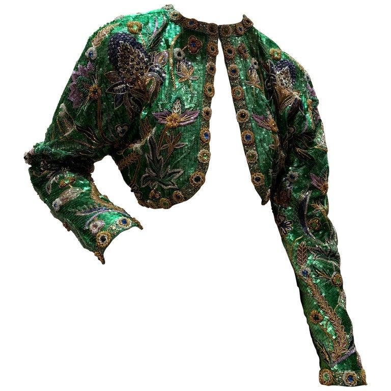 1980s Oscar de la Renta Evening Bolero Jacket Encrusted W/ Bead Thistle Patterns For Sale